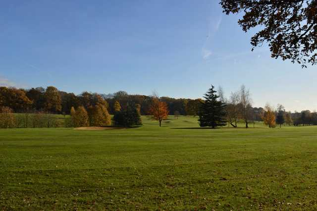 A fall day view of a fairway at Huntswood Golf Club.