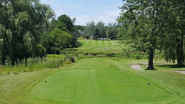 A view of a tee at Flushing Valley Country Club.