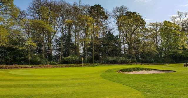 View of the 14th green from the Manor Course at Bramshaw Golf Club