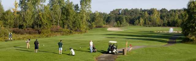 A view of a tee at Indian Springs Metropark Golf Course.