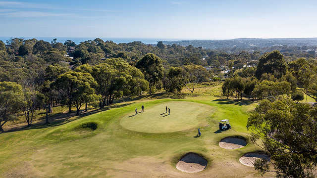 Aerial view of the 3rd green from Mount Martha Public Golf Course