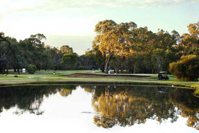 A view over the water from Deniliquin Golf Club.