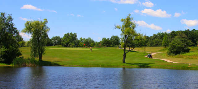 A view over the water of a green at Balmoral Woods Country Club.