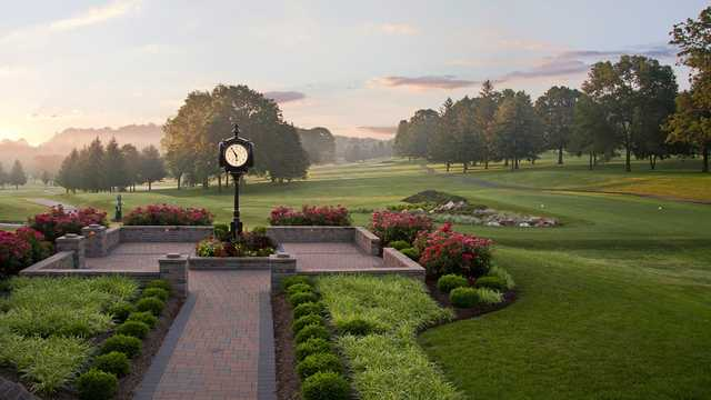A view of a tee at Tanglewood Manor Golf Course.