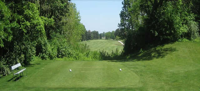 A sunny day view from a tee at Cleveland Heights Golf Club.