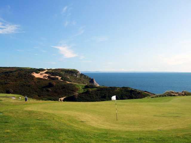 The par-5 16th hole has the best views at Pennard Golf Club.