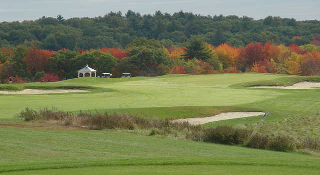A fall day view from tee #9 at Sassamon Trace Golf Course.