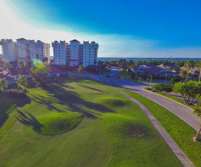Aerial view of the 10th hole at Terra Ceia Bay Golf & Tennis Club.