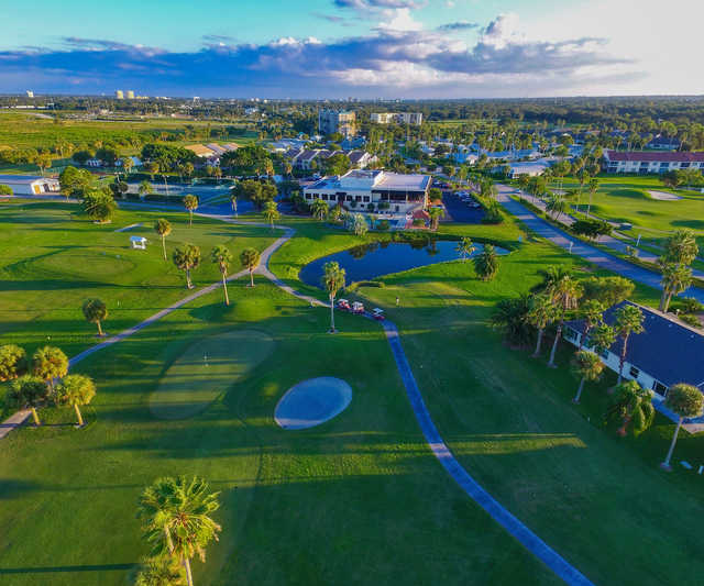 Aerial view of the 18th hole at Terra Ceia Bay Golf & Tennis Club.