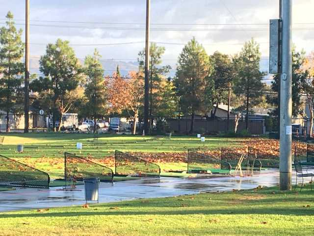 A view of the driving range at Rancho del Pueblo Golf Course.