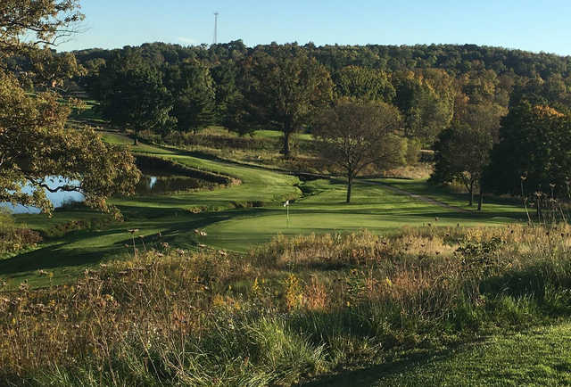 A view of a green at Seven Oaks Country Club.