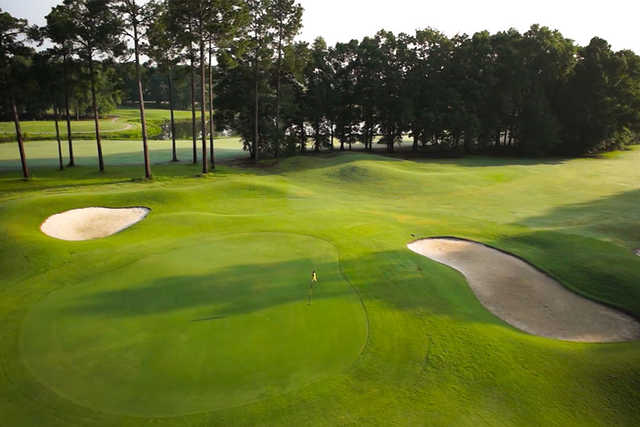 A view of a well protected green at Georgia Veterans Memorial Golf Course from Lake Blackshear Resort & Golf Club.