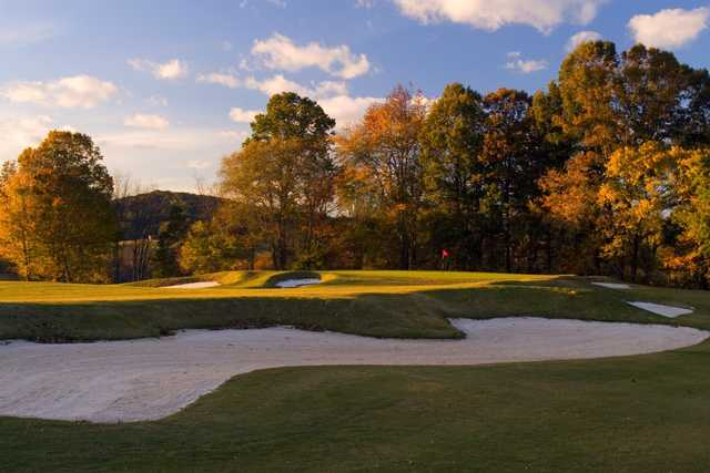 A fall day view of a hole at Old Union Golf Course.