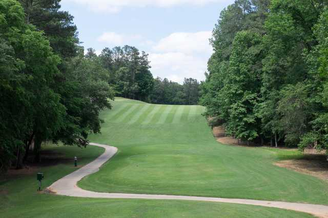 A view of a tee at RiverPines Golf Course.