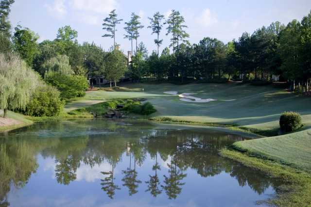 A view over the water of a hole at St. Marlo Country Club.
