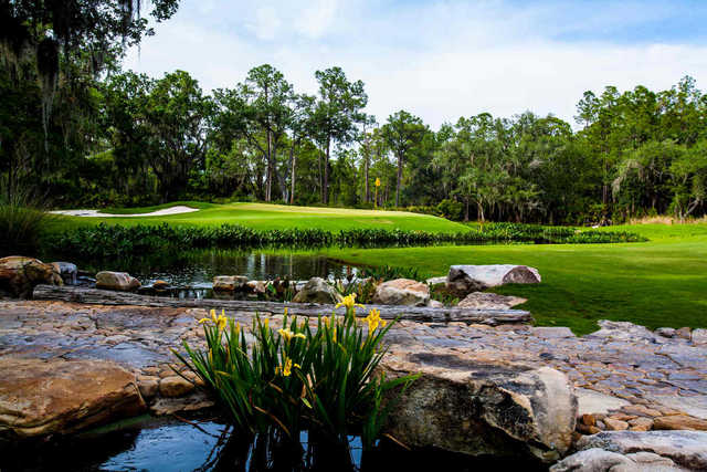 A spring day view of a green at Concession Golf Club.