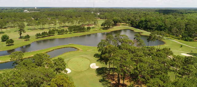 Aerial view of the 18th and 17th holes at Tired Creek Golf Course