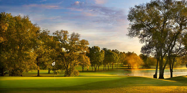 A sunset view of a hole at Hillwood Country Club.