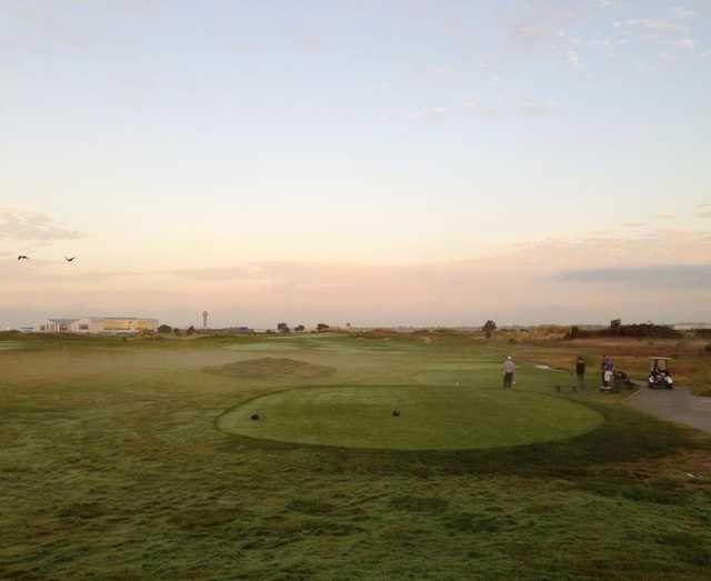 A morning day view of a tee at The Metropolitan Golf Links.