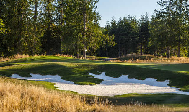 A view of the 17th green at Salish Cliffs Golf Club.