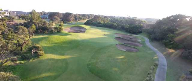 Aerial view of the 4th green at Cape Schanck Resort