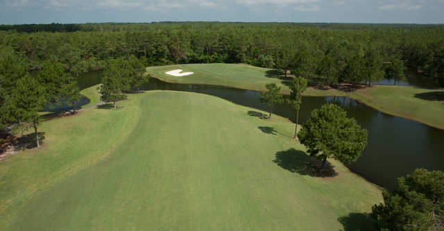 Aerial view of the 7th green from the Bay Nine at Sandpiper Bay Golf & Country Club
