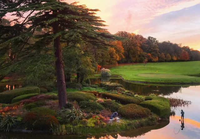 A fall day view of a hole at Fota Island Golf Club.