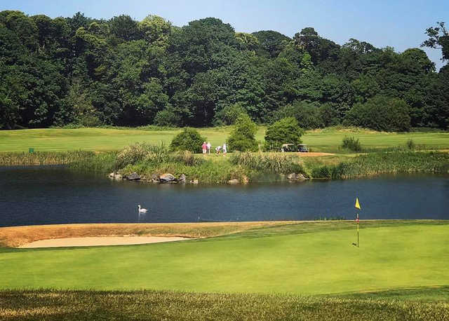 A view of a green with water coming into play at Fota Island Golf Club.