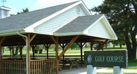 A view of the shelter house at Hiawatha Golf Course