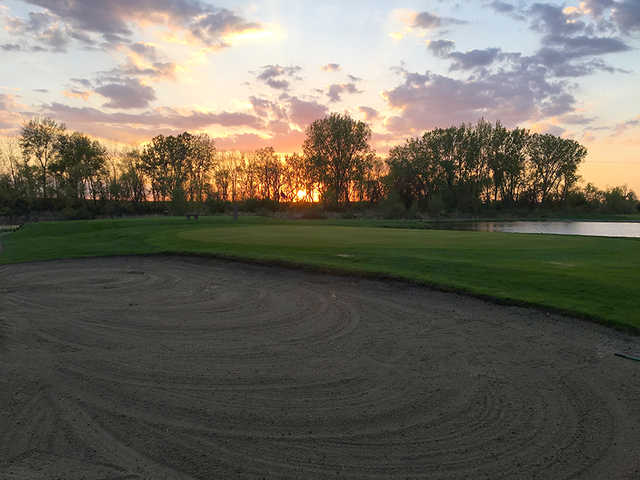 Sunset on the 11th green at Oakdale Golf Club