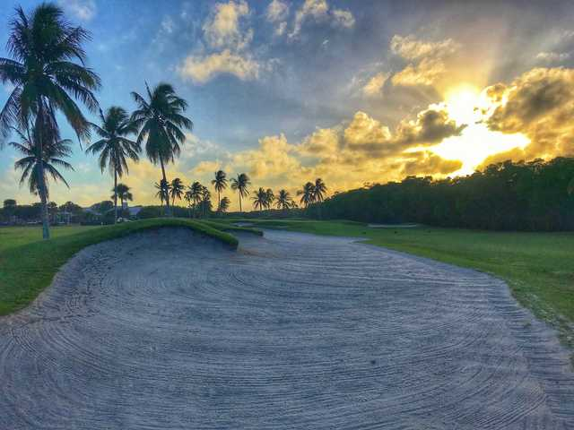 View of the bunker from the 18th hole at Crandon Golf at Key Biscayne