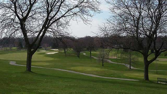 A view of a tee at Evergreen Hills.