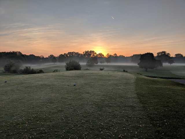 A foggy sunrise fiew vrom a tee at Fellows Creek Golf Course.