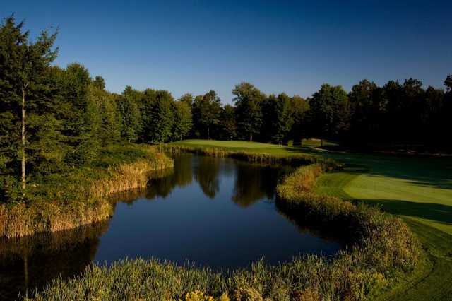 A view over the water from Cutters' Ridge Golf Course at Manistee National Golf & Resort.