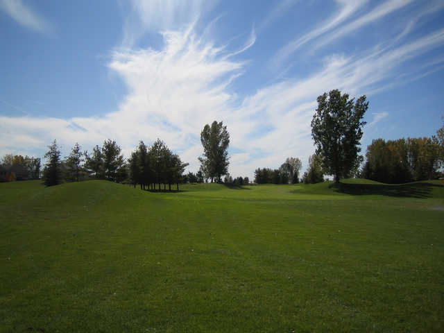 A sunny day view of a fairway at Greystone Golf Club.