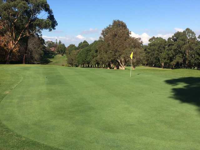 Looking back from a green at Gordon Golf Club