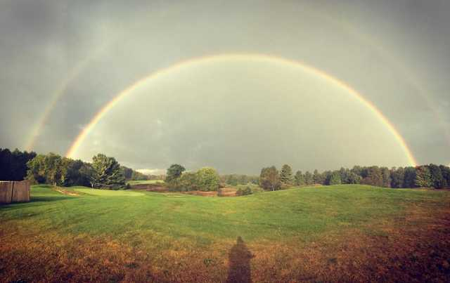 A view of a hole protected by the rainbow at Mistwood Golf Course.