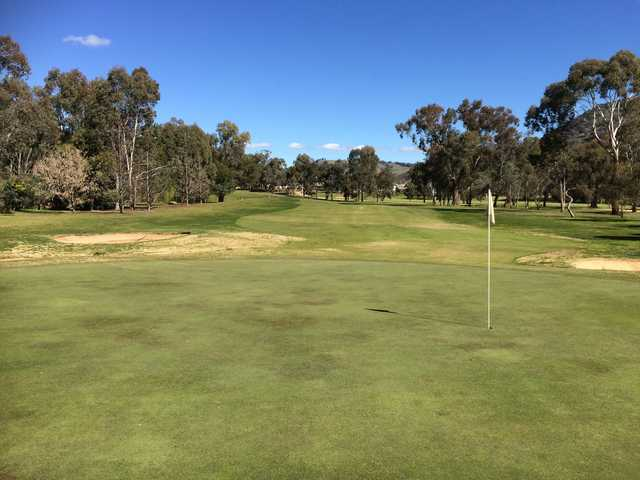 A sunny day view of a hole at Wodonga Golf Club.