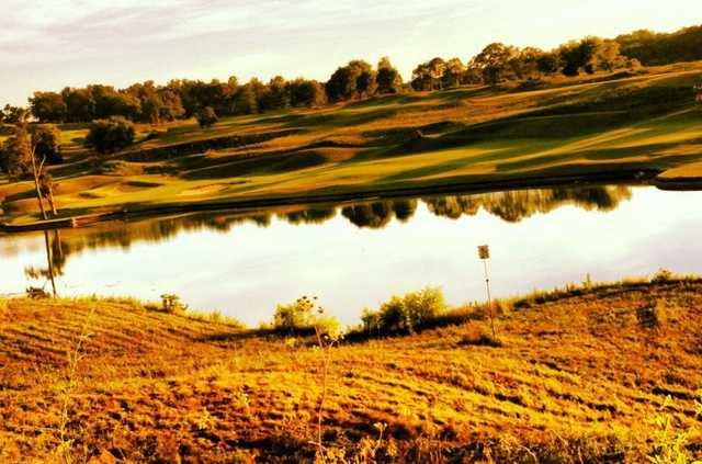 View of the lake in the fall at GreyStone Golf Club