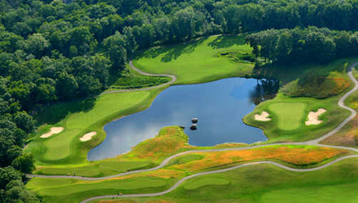 Aerial view of holes #7 and #8 at Fox Hopyard Golf Club