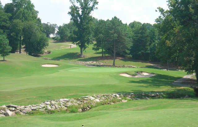 A sunny day view of a green at the Country Club of Gwinnett.