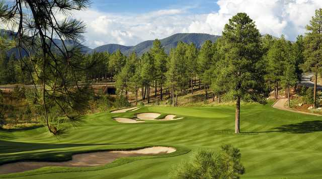 A view of a well protected green at Pine Canyon Club.