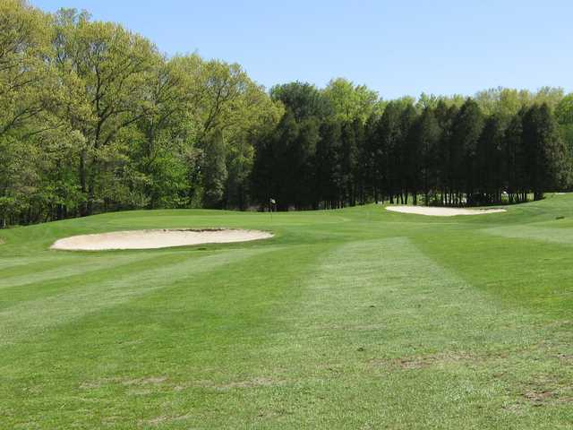 A spring day view of a hole at Edgewood Golf Club.
