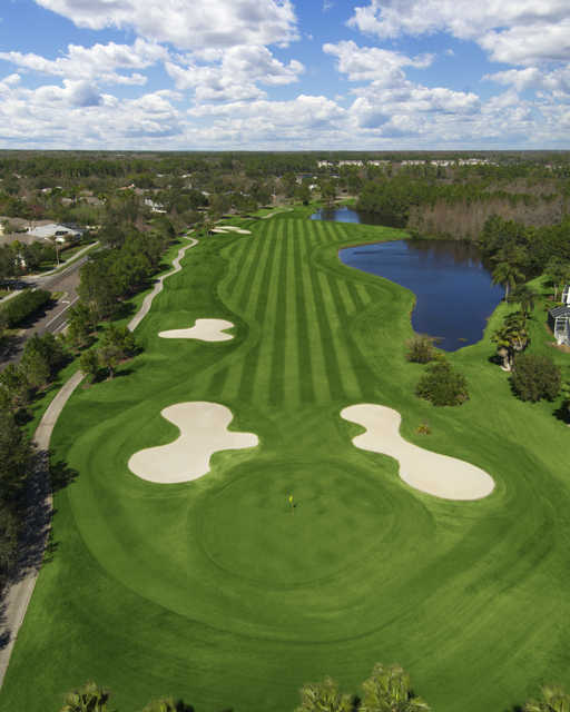Aerial view of the 13th green protected by bunkers at Westchase Golf Club