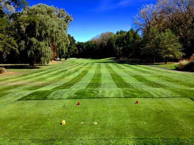 A view of a tee at Soldier Hill Golf Course.