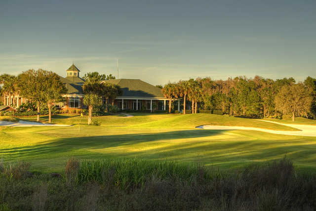 A view of the clubhouse and hole #18 at Westchase Golf Club