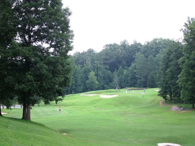 A view of a well protected green at Sugar Hill Golf Club.