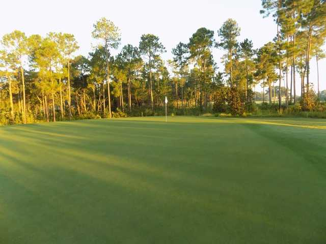 A sunny day view of a hole at The Preserve Golf Club.