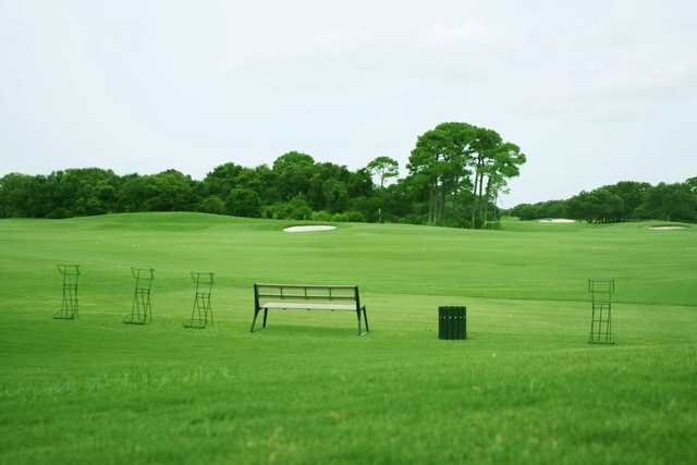 A view of the driving range at Kiva Dunes Golf Course.