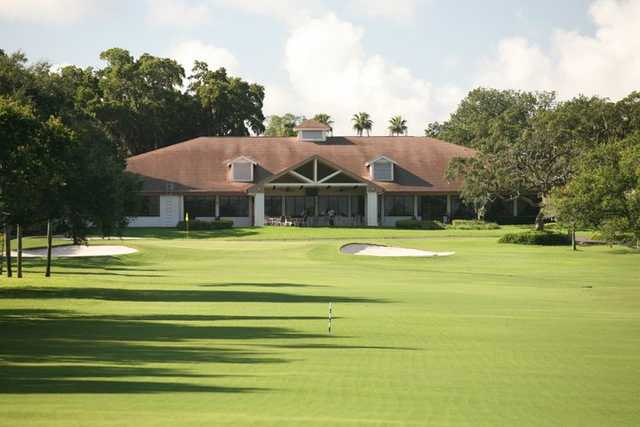 A view of the clubhouse and green #13 at Dunedin Golf Club